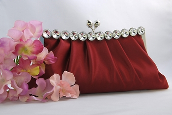 Chic Burgundy Satin Clear Rhinestone Evening Bag 302
