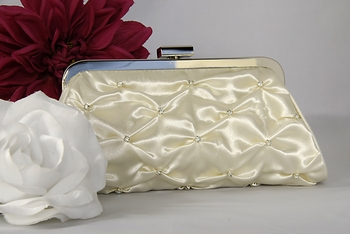 Ivory Satin Bridal Rhinestone Gathered Evening Bag EB 303