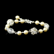 Ivory Glass Pearl with Clear & Rhinestone Ball Linked Bridal Clasp Bracelet 8744