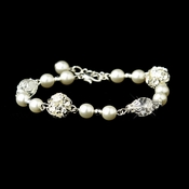 White Glass Pearl with Clear & Rhinestone Ball Linked Bridal Clasp Bracelet 8744