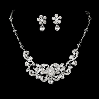 Brilliant Silver Clear Rhinestone Flower Necklace & Earring Set 7210