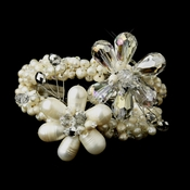 Silver Ivory Freshwater Pearl And AB Crystal Bridal Cuff Bracelet 8775