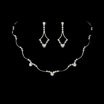 Beautifully Simple Silver Clear Crystal Bridal Jewelry Set NE 343