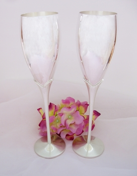 Silver Crystal Lily Wedding Toasting Champagne Flutes FL 21063
