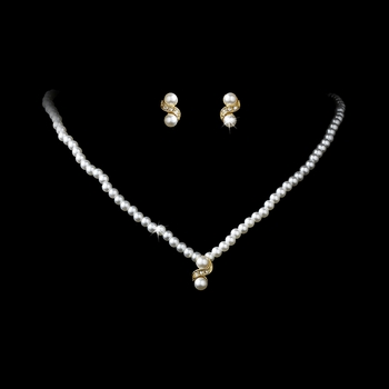 * Gold and Ivory Pearl Necklace Set NE 124