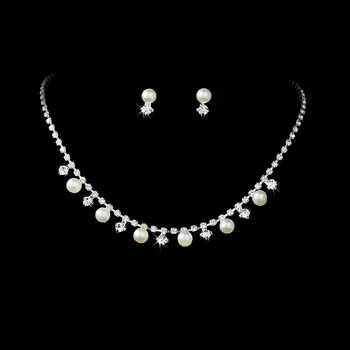 * Silver & White Pearl Necklace and Earring Set NE 136