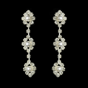 Crystal & White Pearl Drop Earrings E 23117