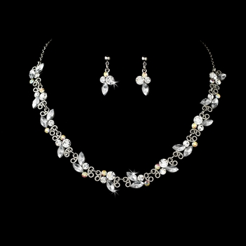 * Exquisite Silver AB Bridal Jewelry Set NE 931***Only 1 Left****