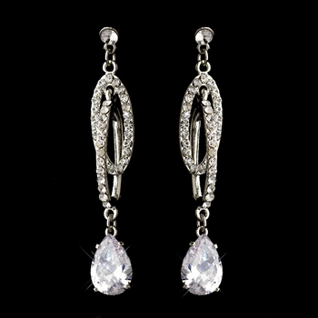 Antique Silver Rhodium Clear CZ Crystal Dangle Earrings 2140