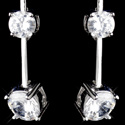 Antique Silver Rhodium Clear CZ Crystal Dangle Earrings 3312