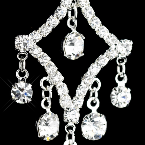 Silver Clear Round Rhinestone Chandelier Earrings 4419