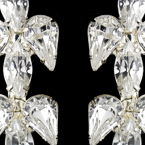 Silver Clear Teardrop & Marquise Rhinestone Drop Earrings 5611