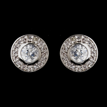 Antique Silver Rhodium Clear Round CZ Crystal Stud Earrings 5783