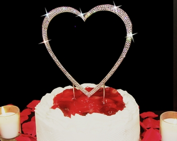 Completely Covered ~ Swarovski Crystal Single Heart Cake Topper