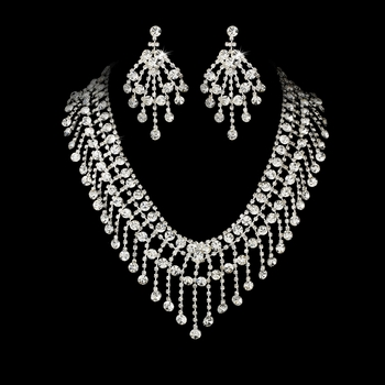 Necklace Earring Set 8285 Silver Clear