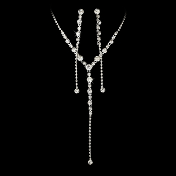 * Necklace Earring Set 8301 Silver Clear