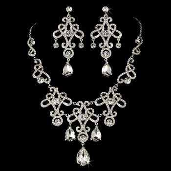 Necklace Earring Set 8387 Silver Clear