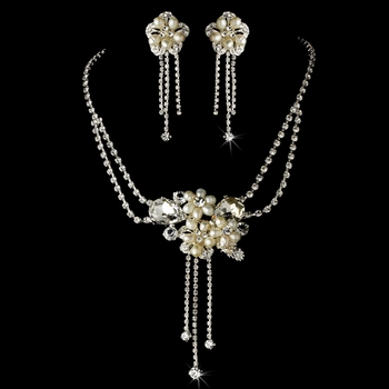 Necklace Earring Set 8395 Silver Ivory