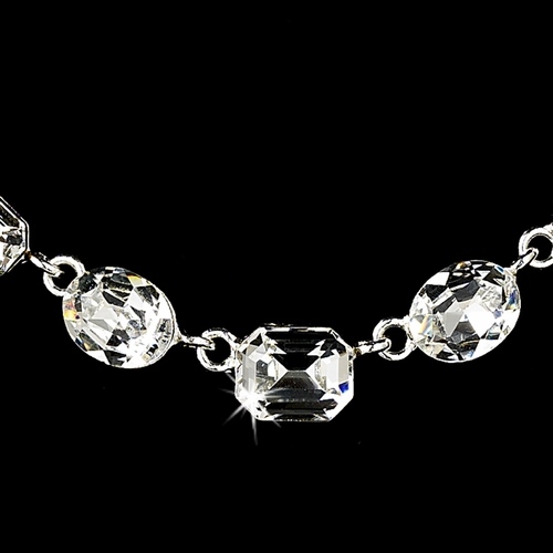 Necklace Earring Set 71582 Silver Clear