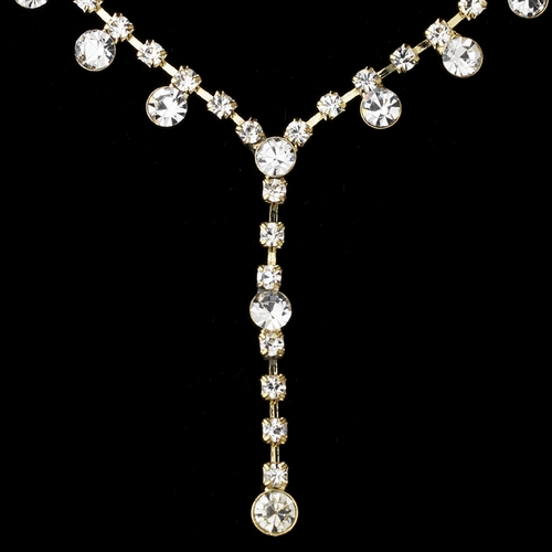 Necklace Earring Set NE 7157 Gold Clear**Discontinued***