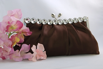 Chic Brown Satin Clear Rhinestone Evening Bag 302