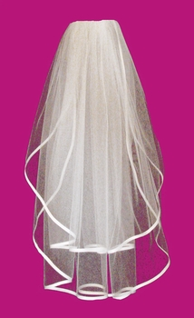 """Two Tier Veil with 3/8"""" Wide Satin Ribbon Edge in Fingertip Length VS F 38"""