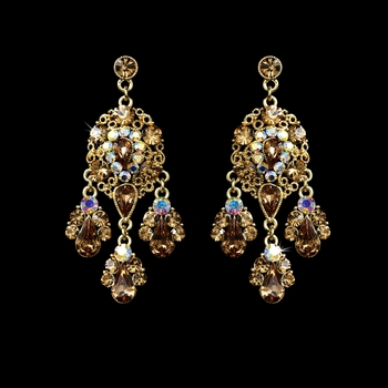 Celebrity Style Gold AB Brown Earrings E 943