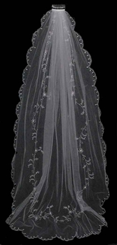Single Ivory Tier Cathedral Length Veil Accented in Flower Embroidery & Swarovsi Crystals V 67