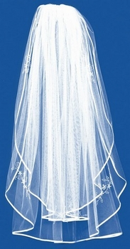 Double Layer Pencil Edge Veil with Rhinestone & Pearl Floral Accents ***Discontinued***