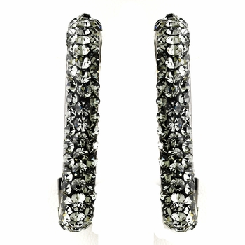 Antique Silver Black Diamond Hoop Earrings 8707