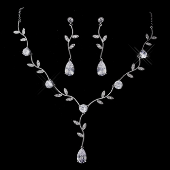 Silver Clear CZ Necklace & Earring Set 1297