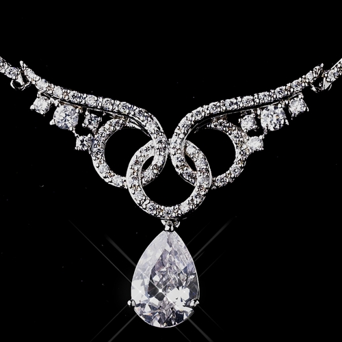 Silver Clear CZ  Necklace Earring Set 1298