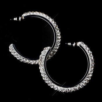 Antique Silver Clear Hoop Earrings 8707