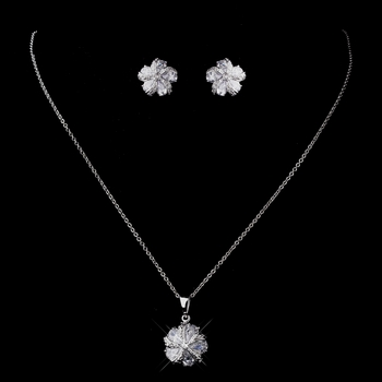 Silver Clear CZ Floral Necklace & Earring Set 8601