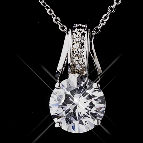 Silver Clear CZ Necklace & Earring Set 8603