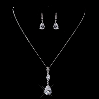 Silver Clear CZ Necklace & Dangle Earring Set 8606