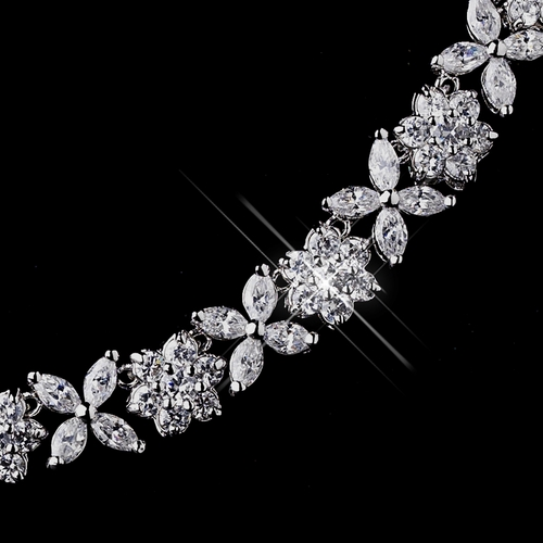 Silver Clear CZ Necklace & Earring Set 8611