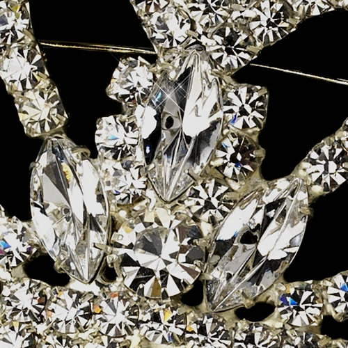 Silver Clear Round & Marquise Crown Pin Brooch 0415