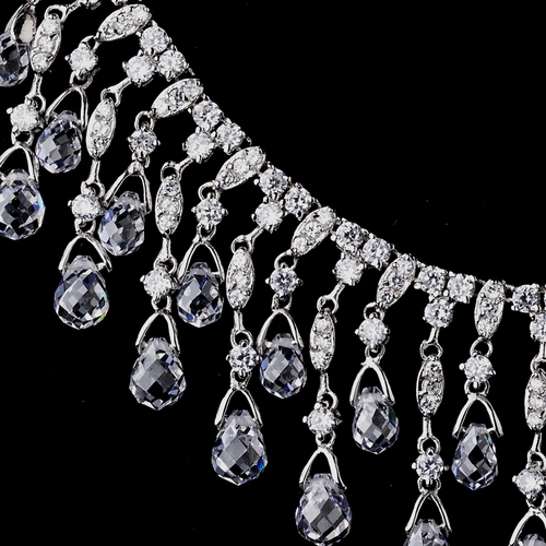 Silver Clear CZ Necklace & Earring Set 8617