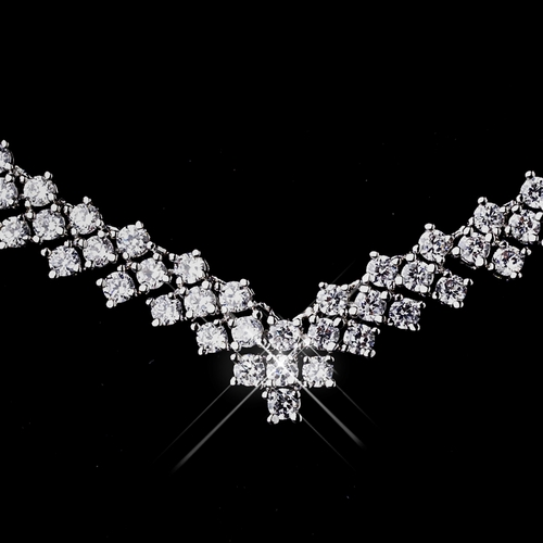 Silver Clear CZ Necklace & Earring Bridal Jewelry Set 8618