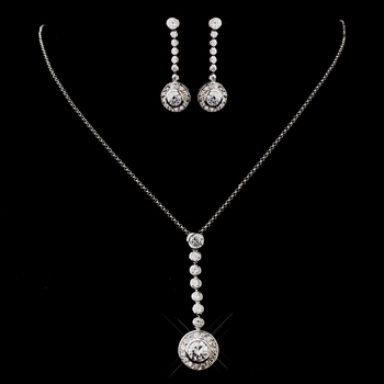 Silver Clear CZ Necklace & Earring Set 8722