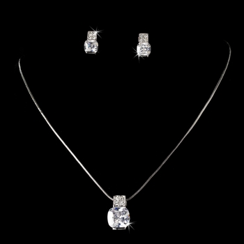 Crystal Cubic Zirconia Pendent  Bridal Jewelry Set E 3518 & N 3518