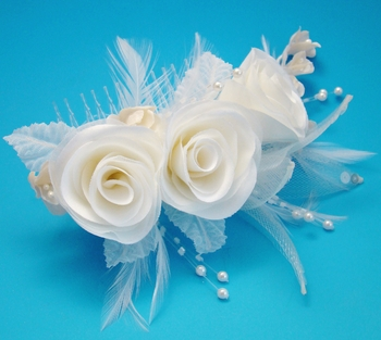Ivory Cafe Feather Fascinator (Special Order Any Color)