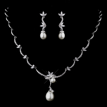 Silver Clear CZ & Pearl Necklace & Earring Set 1294
