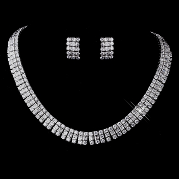 Silver Clear CZ Necklace & Earring Set 8616