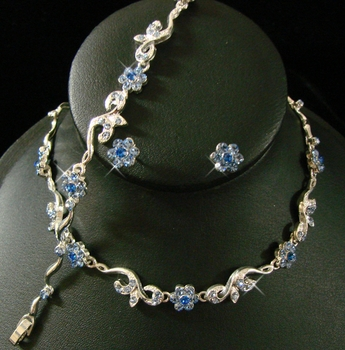 * Silver Light Blue Floral Bridal Jewelry Set NEB 381