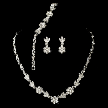 Silver Clear Necklace Earring & Bracelet Set NEB 1262