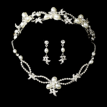 Swarovski Crystal Bridal Necklace Earring & Tiara Set HP 7808