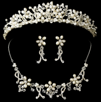 Pearl and Crystal Jewelry & Tiara Set NE 7607 HP 7007