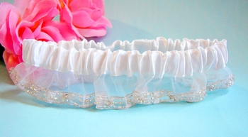 Sheer Organza Garter with Crystal Bugle Beads G204